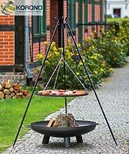 Korono 2 in 1 Schwenk Grill Dreibein 180cm Rost 60cm & Feuerschale 70cm mit Loch - Gartenfeuer & mobiler Grill