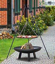 Korono 2 in 1 Schwenk Grill Dreibein 180cm Rost 80cm & Feuerschale 80cm Stahl - Grillen & Chillen