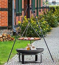 Korono 2 in 1 Schwenk Grill & Feuerschale Grill Rost 70 cm & Feuerschale mit Loch 80 cm - Grillen & Chillen