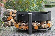 Korono elegante Designer Feuerschale 70 cm mit Ablage für Holz - Praktikabilität & tolles Design   Stilvolle Beleutung - Lagerfeuer - Wärmequelle