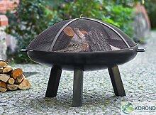 Korono Feuerschale 60cm mit Loch & Griff & Funkenschutzgitter   Gartenfeuer   offenes Feuer - elegante Feuerstelle