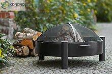 Korono Feuerschale 70cm mit 2 Griffen & Funkenschutz Gitter   Gartenfeuer   offenes Feuer - elegante Feuerstelle