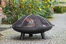 Korono Feuerschale 70cm mit Loch & Griff & Funkenschutzgitter   Gartenfeuer   offenes Feuer - elegante Feuerstelle