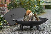 Korono Feuerschale Feuerschüssel mit Griff & Deckel 70 cm auf 3 Beinen - Lagerfeuer   mobiler Grill   stilvolle Beleuchtung
