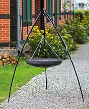 Korono Schwenk BBQ WOK Grill 60 cm Stahl Dreibein Gestell 200 cm Schwenkgrill - für alle Outdoor Feste & Grill Partys