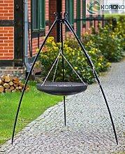 Korono Schwenk BBQ WOK Grill 70 cm Stahl Dreibein Gestell 200 cm Schwenkgrill - für alle Outdoor Feste & Grill Partys