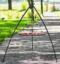 Korono Schwenkgrill stabiles Teleskopgestell 200 cm & 2 Roste 80 cm / 40 cm Stahl- Gartengrill für alle Feste und Familienfeiern