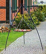 Korono Schwenkgrill stabiles Teleskopgestell 200 cm & Rost 50 cm Pulver-beschichtetes Stahl - Gartengrill für alle Feste