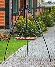 Korono Schwenkgrill stabiles Teleskopgestell 200 cm & Rost 80 cm Pulver-beschichtetes Stahl - Gartengrill für alle Feste