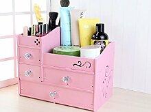 Kosmetik-Aufbewahrungsbox Holz-Schubladen-Badezimmer-Regal-Haupttabellen-Aufbereiter-Kleiderkasten, Rosa