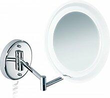 Kosmetik-Wandspiegel beleuchtet Schminkspiegel LED Rasierspiegel mit 5-facher Vergrößerung und Rand aus Acryl
