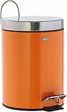 Kosmetikeimerca. 3 Liter robuster Mülleimer als Abfalleimer - Treteimer fürs Badezimmer - aus Edelstahl rostfrei + Kunststoffeinsatz - Farbe:orange