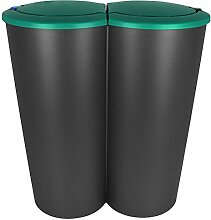Kosmetikeimer - Mülleimer - Abfallbehälter - Abfalleimer - Duo Mülleimer 2x25L mit Farbauswahl (Petrol)