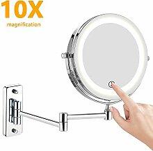 BATHWA Wandmontage Kosmetikspiegel LED Beleuchtet mit 1x//7x Fach Vergr/ö/ßerung Wandspiegel Doppelseite 360/° Schwenkbar Schminkspiegel Rasierspiegel f/ür Badezimmer