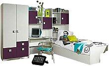 Kosoree Kinderzimmer 4-teilig Bett Kleiderschrank