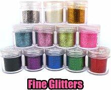 kotiger 12Nail Art Tipps Design Dekoration Glitter Glitzer Puder Supplies