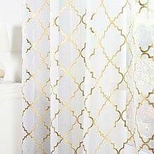 Kotile Weiße und goldene Gardinen für