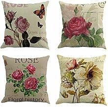 koyiscloth 4 Stück Mode Garten Pflanze Blumen Muster Leinen Kissenbezug Sofa Wohnkultur Kissenbezug 45x45cm 18X18 Zoll