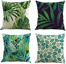 koyiscloth 4 Stück Moderne tropische Pflanze Blätter Muster Leinen Kissenbezug Sofa Wohnkultur Kissenbezug 45x45cm 18X18 Zoll