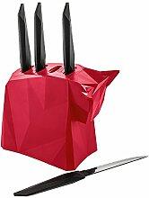 koziol Messerhalter mit Steakmessern  Pablo,  Kunststoff, himbeer mit schwarz, 9,6 x 17,5 x 25,3 cm