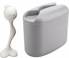 koziol Vorratsdose Hot Stuff M, Kunststoff, cool grey mit weiß, 17.1 x 8.5 x 16.5 cm