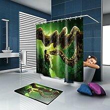 KQS-XYT Duschvorhang und Badematte Set Polyester