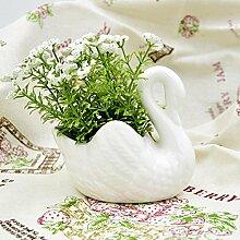 KQS-XYT Keramik Swan Simulation Blumen künstliche Pflanze Fake Flower zuhause , 003