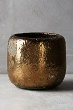 Kräutertopf in zerborstener Metallic-Optik, Fenster - Gold