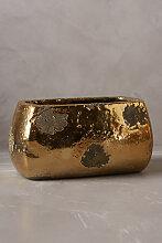 Kräutertopf in zerborstener Metallic-Optik,