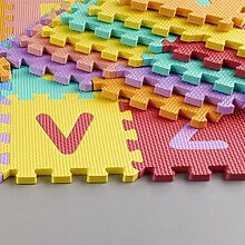 KRAFTZ® Kids, bunte Puzzleteile aus weichem EVA-Schaum, Aktivität, Spielmatte, Alphabet und Zahlen, 36Teile (A-Z und 0–9), Puzzle-Set für den Boden (12x 12cm pro Teil.)