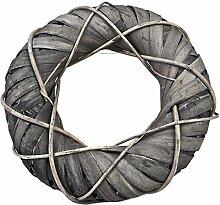 Kranz Deko Design Rattan 40x40cm grau Naturdeko Tischdeko
