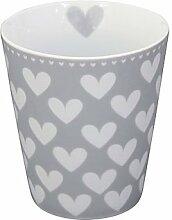 Krasilnikoff - Becher / Happy Cup / Mug / Tasse - grau mit weißen Herzen - Porzellan - 250 ml