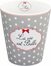Krasilnikoff - Becher - Mug - Tasse - 'La vie est belle' - grau mit weißen Punkten - Höhe 10 cm