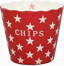 Krasilnikoff Becher Popcorn Chips Sterne rot
