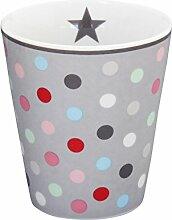 Krasilnikoff - Becher - Tasse - Mug - grau mit bunten Punkten - Höhe 10 cm