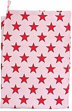 Krasilnikoff - Geschirrtuch, Küchentuch, Trockentuch - Pink / Red Stars / Pink mit roten Sternen - 50 x 70 cm - 100 % Baumwolle