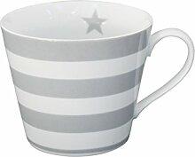 Krasilnikoff - Happy cup - Kaffeetasse - Becher mit Henkel - Streifen grau Höhe 9 cm Ø 10 cm
