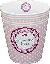 Krasilnikoff Happy Mug Becher Schwester Herz Kaffeebecher