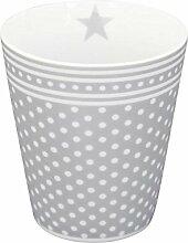 Krasilnikoff HM237 - Mug / Becher / Kaffeebecher - grau mit weißen Punkten - Porzellan - Höhe 10 cm