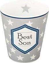 Krasilnikoff Kaffee Becher Best Son, Grau, Höhe