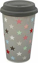 Krasilnikoff - Kaffee To Go Becher - Travel Mug - Bunte Sterne auf Grau - Porzellan - 350 ml - Grey Multi
