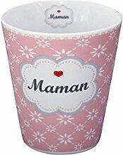 Krasilnikoff - Mug / Tasse / Becher - 'Maman' - rosa mit weißen Blumen - Porzellan