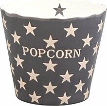Krasilnikoff - Popcorn Schale, Schüssel - Grau mit weißen Sternen - Charcoal Star - Keramik - Höhe: 16 cm