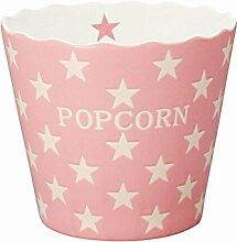 Krasilnikoff - Popcorn Schale, Schüssel - Pink mit weißen Sternen - Pink Star - Keramik - Höhe: 16 cm