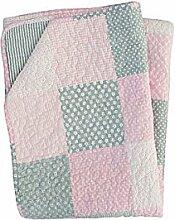Krasilnikoff - Quilt / Tagesdecke - Pink / grau - patchwork - Baumwolle - 130 x 180 cm