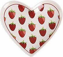 Krasilnikoff - Tablett in Herzform - Erdbeeren -