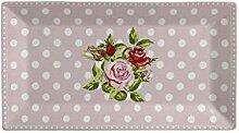 Krasilnikoff Tablett Tray Dots n Roses Porzellan
