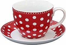 Krasilnikoff - Tasse mit Untertasse - rot - weiße