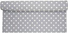 Krasilnikoff - Tischläufer, Läufer - Punkte - Farbe: grau mit weißen Punkten - 160 x 50 cm - 100 % Baumwolle