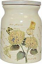 Krauff 24-269-047 Vorratsdose Hortensie 1700 ml Keramik, weiß, 13,8 x 13,8 x 17,8 cm